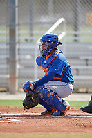GCL Mets catcher Luis Lebron (16) during a game against the GCL Cardinals on July 23, 2017 at Roger Dean Stadium Complex in Jupiter, Florida.  GCL Cardinals defeated the GCL Mets 5-3.  (Mike Janes/Four Seam Images)