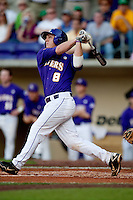 LSU Tigers first baseman Mason Katz #8 launches a first inning home run against the Mississippi State Bulldogs during the NCAA baseball game on March 17, 2012 at Alex Box Stadium in Baton Rouge, Louisiana. The 10th-ranked LSU Tigers beat #21 Mississippi State, 4-3. (Andrew Woolley / Four Seam Images).