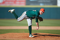 Greensboro Grasshoppers relief pitcher John O'Reilly (31) follows through on his delivery against the Hickory Crawdads at L.P. Frans Stadium on May 26, 2019 in Hickory, North Carolina. The Crawdads defeated the Grasshoppers 10-8. (Brian Westerholt/Four Seam Images)