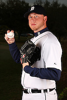 February 27, 2010:  Pitcher Jay Sborz (56) of the Detroit Tigers poses for a photo during media day at Joker Marchant Stadium in Lakeland, FL.  Photo By Mike Janes/Four Seam Images