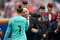 LYON, FRANCE - JULY 07: Sar Van Veendendaal and Gianni Infantino during a game between Netherlands and USWNT at Stade de Lyon on July 07, 2019 in Lyon, France.
