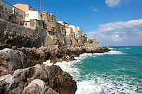 Medieval houses and seafront of old Cefalu [Cefaú] Sicily