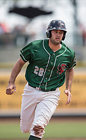 Great Lakes Loons catcher Steve Berman (28) runs to third base against the Bowling Green Hot Rods during the Midwest League baseball game on June 4, 2017 at Dow Diamond in Midland, Michigan. Great Lakes defeated Bowling Green 11-0. (Andrew Woolley/Four Seam Images)