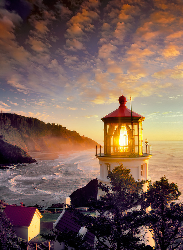 S00062M.tiff   Heceta Lighthouse with sunset clouds and fog. Oregon