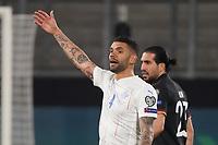 Victor Palsson (Island Iceland) regt sich auf - 25.03.2021: WM-Qualifikationsspiel Deutschland gegen Island, Schauinsland Arena Duisburg