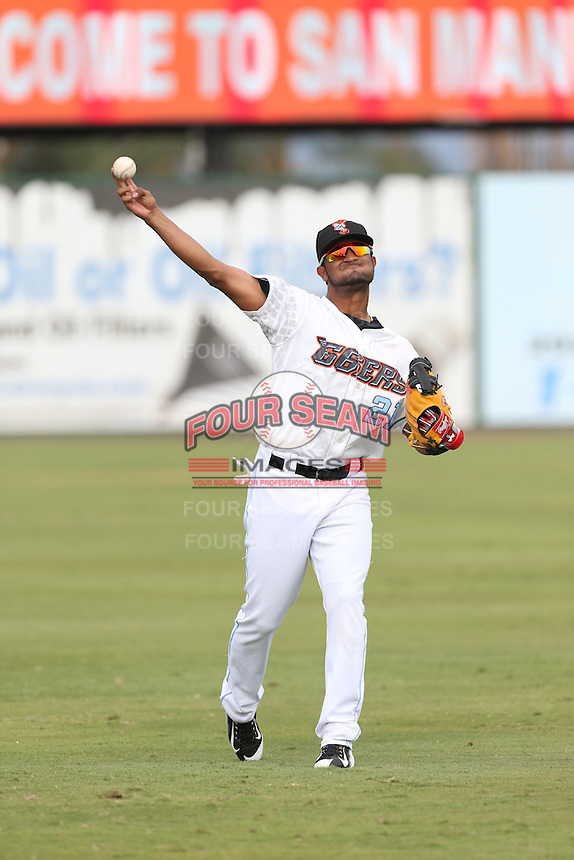 Roberto Baldoquin (21) of the Inland Empire 66ers throws before a game against the Stockton Ports at San Manuel Stadium on June 28, 2015 in San Bernardino, California. Stockton defeated Inland Empire, 4-1. (Larry Goren/Four Seam Images)