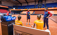 Den Bosch, The Netherlands, April 15, 2021,    Maaspoort, Billy Jean King Cup  Netherlands -  China : Practise  Dutch team, ltr: coach Peter Lucassen (NED) Demi Schuurs (NED) Camptain Paul Haarhuis (NED) Aranxta Rus (NED) and her coach Julian Alonso (ESP)<br /> Photo: Tennisimages/Henk Koster