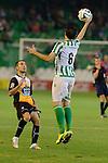 Sevilla, España, 15 de octubre de 2014: Jordi (D) detiene el balon al pitar falta el arbitro partido entre Real Betis y Lugo correspondiente a la jornada 5 de la Copa del Rey 2014-2015 celebrado en el estadio Benito Villamarain de Sevilla.