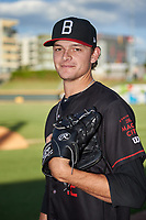 Birmingham Barons pitcher Codi Heuer (12) poses for a photo before a Southern League game against the Chattanooga Lookouts on July 24, 2019 at Regions Field in Birmingham, Alabama.  Chattanooga defeated Birmingham 9-1.  (Mike Janes/Four Seam Images)