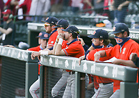 Auburn players look on after a loss, Saturday, April 3, 2021 during the tenth inning of a baseball game at Baum-Walker Stadium in Fayetteville. Check out nwaonline.com/210404Daily/ for today's photo gallery. <br /> (NWA Democrat-Gazette/Charlie Kaijo)