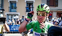 Green Jersey / points leader Mark Cavendish (GBR/Deceuninck - Quick Step) is emotional and very huggable as he equals the historic record of Eddy Merckx (most TdF wins; 34) at the finish in Carcassonne<br /> <br /> Stage 13 from Nîmes to Carcassonne (220km)<br /> 108th Tour de France 2021 (2.UWT)<br /> <br /> ©kramon