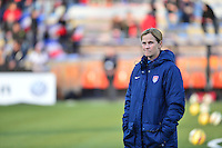 Lorient, France. - Sunday, February 8, 2015: Head coach Jill Ellis of the USWNT. USWNT vs France during an international friendly at the Stade du Moustoir.