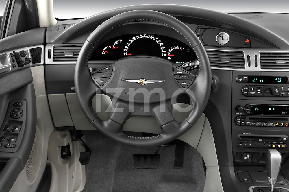 Steering wheel view of a 2009 Chrysler Pacifica Touring