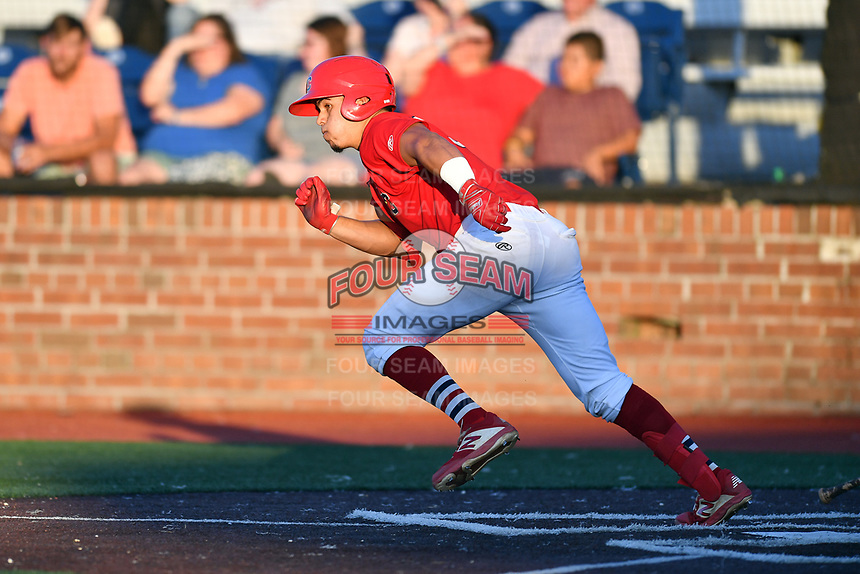 Johnson City Cardinals Aaron Antonini (53) runs to first base during game two of the Appalachian League, West Division Playoffs against the Bristol Pirates at TVA Credit Union Ballpark on August 31, 2019 in Johnson City, Tennessee. The Cardinals defeated the Pirates 7-4 to even the series at 1-1. (Tony Farlow/Four Seam Images)