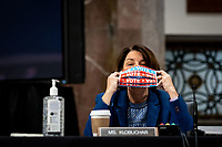 United States Senator Amy Klobuchar (Democrat of Minnesota) dons a face mask at a US Senate Judiciary Committee business meeting to consider authorization for subpoenas relating to the Crossfire Hurricane investigation and other matters on Capitol Hill in Washington, DC on June 11, 2020. <br /> Credit: Erin Schaff / Pool via CNP/AdMedia