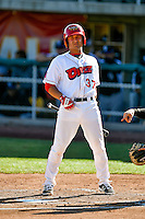 Matt Thaiss (37) of the Orem Owlz at bat against the Grand Junction Rockies in Pioneer League action at Home of the Owlz on July 6, 2016 in Orem, Utah. The Owlz defeated the Rockies 9-1 in Game 1 of the double header.  (Stephen Smith/Four Seam Images)