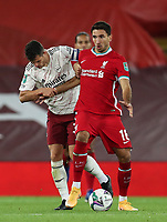 1st October 2020; Anfield, Liverpool, Merseyside, England; English Football League Cup, Carabao Cup, Liverpool versus Arsenal; Marko Grujic of Liverpool is fouled by Granit Xhaka of Arsenal