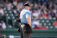 Umpire Joe Belangia works a game between the Rome Braves and the Greenville Drive on Sunday, August 8, 2021, at Fluor Field at the West End in Greenville, South Carolina. (Tom Priddy/Four Seam Images)
