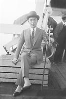 Jean Patou (1880-1936) couturier francais, ici a bord d'un paquebot, c. 1925 ---  Jean Patou (1880-1936) french dress designer, here aboard a liner, c. 1925