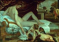 Paintings:  Sustris (1515/1520-1568)--Venus et l'amour. Louvre. Reference only.