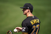 Pittsburgh Pirates Kevin Newman (27) during warmups before a Major League Spring Training game against the Minnesota Twins on March 16, 2021 at Hammond Stadium in Fort Myers, Florida.  (Mike Janes/Four Seam Images)