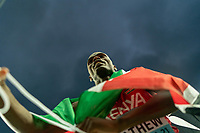2nd May 2021; Silesian Stadium, Chorzow, Poland; World Athletics Relays 2021. Day 2; Matthew of Kenya wrapped in a flag after his team won Silver in the mens 4 x 200