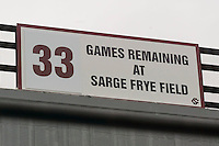 A sign counts down the number of home games remaining at Sarge Frye Field in Columbia, SC, Sunday, February 24, 2008.  The South Carolina Gamecocks will move into a new stadium for the 2009 season.