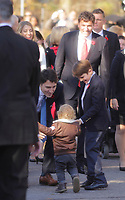 Justin Trudeau,  Prime Minister-designate,2 of his 3 kids and members of the 29th Canadian ministry on the grounds of Rideau Hall in Ottawa, Ontario, on Wednesday, November 4, 2015.<br /> <br /> PHOTO : Pierre Roussel<br /> - Agence Quebec Presse