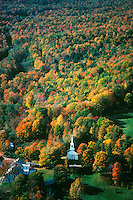 Village with church in autum aerial view Goshen MA