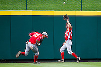 Brian Martin (23) of the Bradley Braves catches a fly ball to left-center field during a game against the Missouri State Bears on May 13, 2011 at Hammons Field in Springfield, Missouri.  Photo By David Welker/Four Seam Images