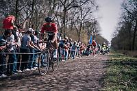 Jens Debusschere (BEL/Lotto-Soudal) at the infamous Arenberg Forest / Bois de Wallers<br /> <br /> 116th Paris-Roubaix (1.UWT)<br /> 1 Day Race. Compiègne - Roubaix (257km)