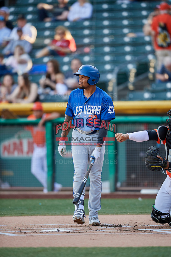 Dominic Smith (22) of the Las Vegas 51s bats against the Salt Lake Bees at Smith's Ballpark on May 7, 2018 in Salt Lake City, Utah. The 51s defeated the Bees 10-8. (Stephen Smith/Four Seam Images)