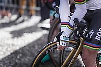 World Champion and later race winner Peter Sagan (SVK/Bora Hansgrohe) awaiting the pre race sign-on presentation.<br /> <br /> 116th Paris-Roubaix (1.UWT)<br /> 1 Day Race. Compiègne - Roubaix (257km)