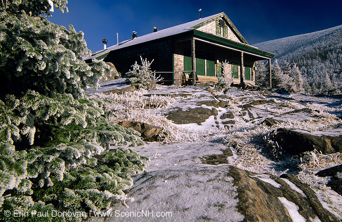 Galehead Hut on Garfield Ridge in the White Mountain National Forest, New Hampshire. The original Galehead Hut was built in 1931. Closed during the winter season, this hut offers views into the Pemigewasset Wilderness.