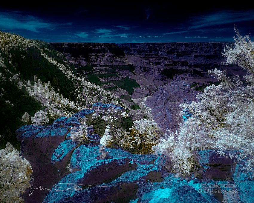 Into the Depths at South Rim (Infrared) ©2018 James D Peterson.  The almost endless array of ridges and hollows in the Grand Canyon is revealed in a different light.