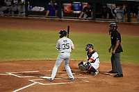 Peoria Javelinas Hudson Potts (35), of the San Diego Padres organization, at bat in front of catcher Gavin Collins (12) and home plate umpire Jose Navas during an Arizona Fall League game against the Mesa Solar Sox on September 21, 2019 at Sloan Park in Mesa, Arizona. Mesa defeated Peoria 4-1. (Zachary Lucy/Four Seam Images)