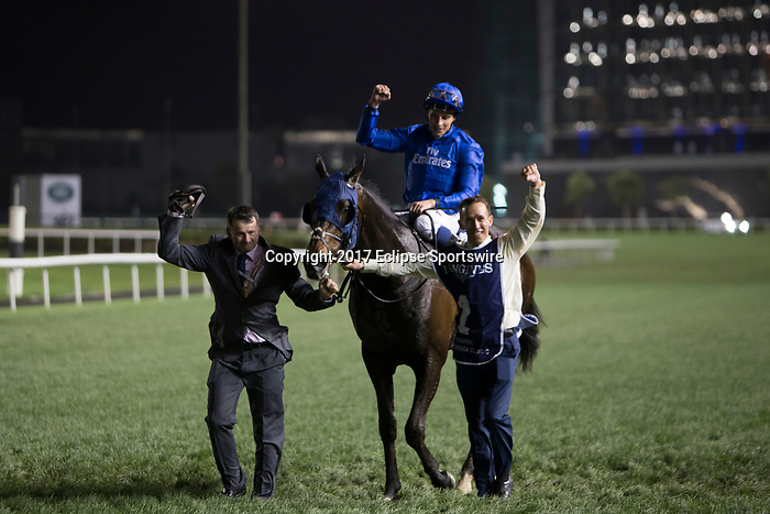 DUBAI,UNITED ARAB EMIRATES-MARCH 25: Jack Hobbs,ridden by William Buick, after winning the Dubai Sheema Classic at Meydan Racecourse on March 25,2017 in Dubai,United Arab Emirates (Photo by Kaz Ishida/Eclipse Sportswire/Getty Images)