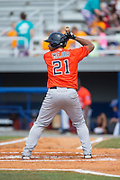 Brauly Mejia (21) of the Greeneville Astros at bat against the Kingsport Mets at Hunter Wright Stadium on July 7, 2015 in Kingsport, Tennessee.  The Mets defeated the Astros 6-4. (Brian Westerholt/Four Seam Images)