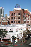 San Diego: Looking east on F Street from Fourth--Horton Plaza Parking Garage. Photo '92.