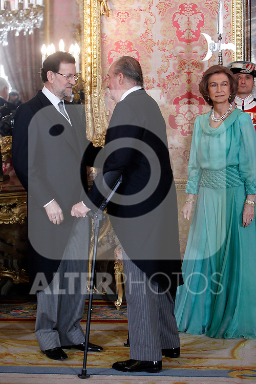 King Juan Carlos of Spain, Queen Sofia of Spain and Prime Minister of Spain Mariano Rajoy attends the reception of the diplomatic corps in Spain at Palacio Real. January 23, 2013. (ALTERPHOTOS/Caro Marin)