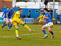18th April 2021; Stair Park, Stranraer, Dumfries, Scotland; Scottish Cup Football, Stranraer versus Hibernian; Martin Boyle of Hibernian scores his teams third goal for 0-3 in minute 73