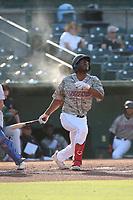 Caleb Scires (39) of the Inland Empire 66ers bats against the Stockton Ports at San Manuel Stadium on June 27 2021 in San Bernardino, California. (Larry Goren/Four Seam Images)