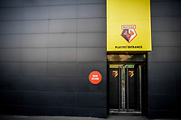 7th November 2020; Vicarage Road, Watford, Hertfordshire, England; English Football League Championship Football, Watford versus Coventry City; The players entrance to Vicarage Road; A red zone.