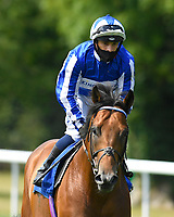 Well Done Fox ridden by Silvestre De Sousa goes down to the start of The AJN Steelstock / Pam Bruford Memorial Handicap during Horse Racing at Salisbury Racecourse on 9th August 2020