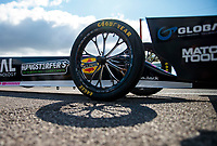 Oct 4, 2020; Madison, Illinois, USA; Detailed view of the front wheels on the dragster of NHRA top fuel driver Antron Brown during the Midwest Nationals at World Wide Technology Raceway. Mandatory Credit: Mark J. Rebilas-USA TODAY Sports