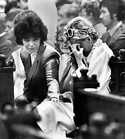 1984 FILE PHOTO - ARCHIVES -<br /> <br /> Comforting hand: Sandra Boyer tries to comfort her mother; Louise; who clutches photograph of her husband; Georges Boyer; killed when a man in commando garb opened fire with a sub-machinegun in the National Assembly on Tuesday. Saint-Coeur-de-Marie church was earlier searched for explosives.<br /> <br /> PHOTO :  John Mahler - Toronto Star Archives - AQP