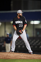Chattanooga Lookouts relief pitcher Todd Van Steensel (23) gets ready to deliver a pitch during a game against the Mobile BayBears on May 5, 2018 at Hank Aaron Stadium in Mobile, Alabama.  Chattanooga defeated Mobile 11-5.  (Mike Janes/Four Seam Images)