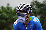 Alejandro Valverde (ESP) Movistar Team at sign on before the start of Stage 5 of the 2021 UAE Tour running 170km from Fujairah to Jebel Jais, Fujairah, UAE. 25th February 2021.  <br /> Picture: Eoin Clarke   Cyclefile<br /> <br /> All photos usage must carry mandatory copyright credit (© Cyclefile   Eoin Clarke)