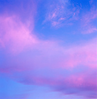 The dramatic blue and pink skies of an evening in Mexico