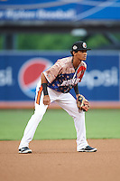Aberdeen Ironbirds shortstop Ricardo Andujar (18) during a game against the Tri-City ValleyCats on August 6, 2015 at Ripken Stadium in Aberdeen, Maryland.  Tri-City defeated Aberdeen 5-0 in a combined no-hitter.  (Mike Janes/Four Seam Images)
